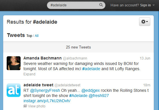 Adelaide Hashtag on Twitter