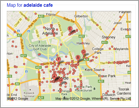 Google Local Listings Map