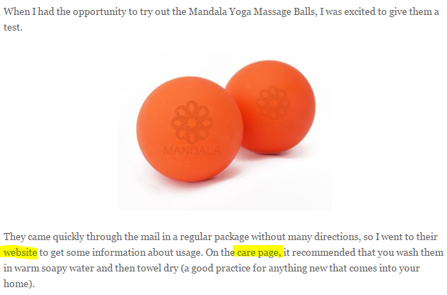 Here's an example of a blogger reviewing some massage balls as a result of a review campaign by the brand.