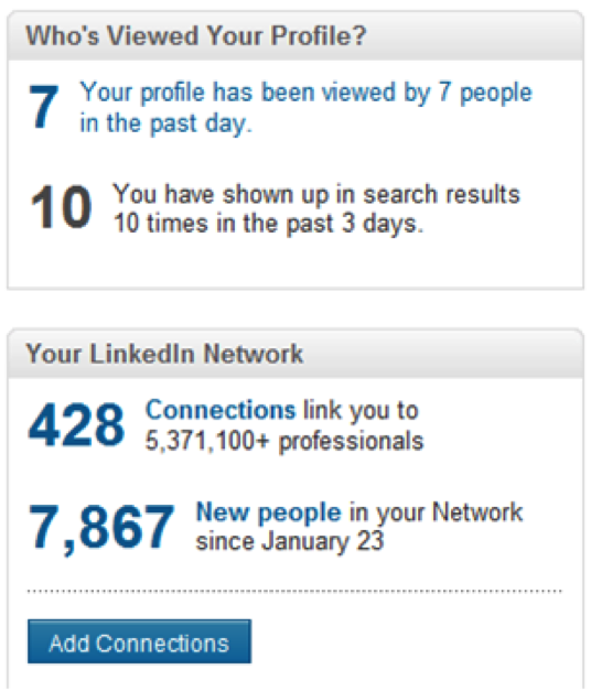 Viewing your Profile LinkedIn